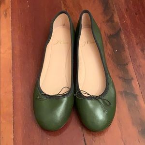 NWOT Jcrew leather ballet flats in gorgeous green!